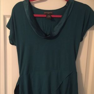 Blouse, teal with satin trim around neck